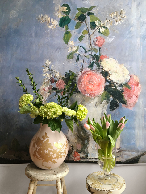 Set with Camille Pissarro backdrop, hydrangeas and tulips